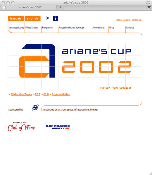 Detail of Ariane's Cup 2002 website
