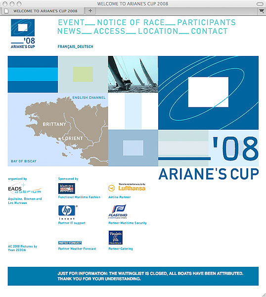 Detail of Ariane's Cup 2008 website
