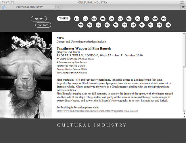 Detail aus Cultural Industry –<br/>Website