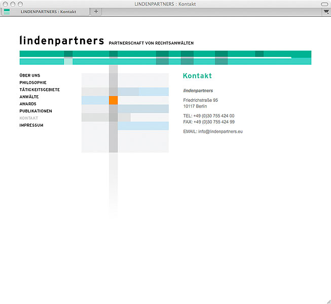 Detail of lindenpartners website